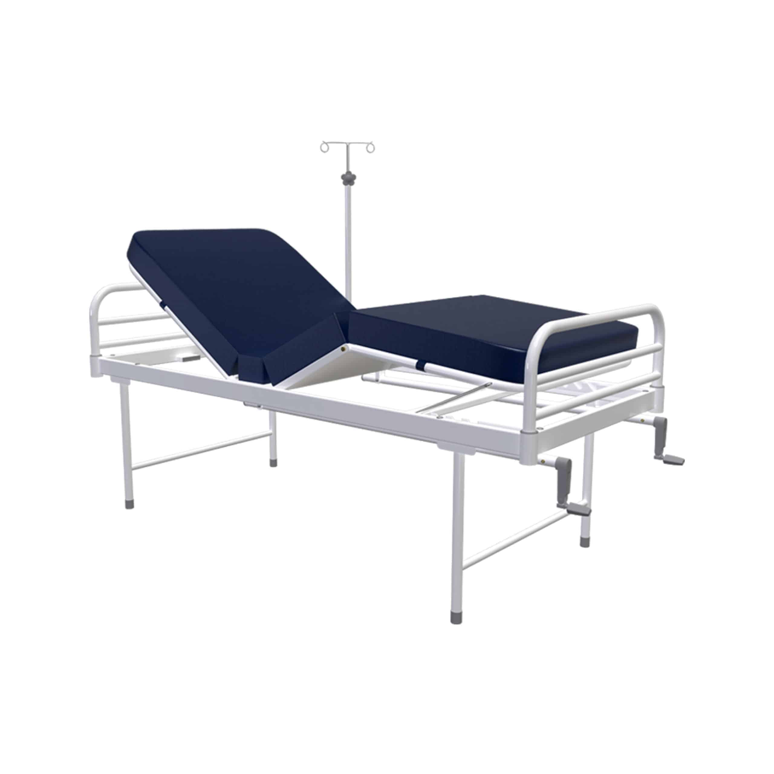 White colour Medical Examination Couch with Blue bed and saline stand attached to it under white background