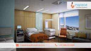 Interior Design of empty hospital room furnished with white colour bed , Monitor Trolley , Sofas and Chairs Displayed