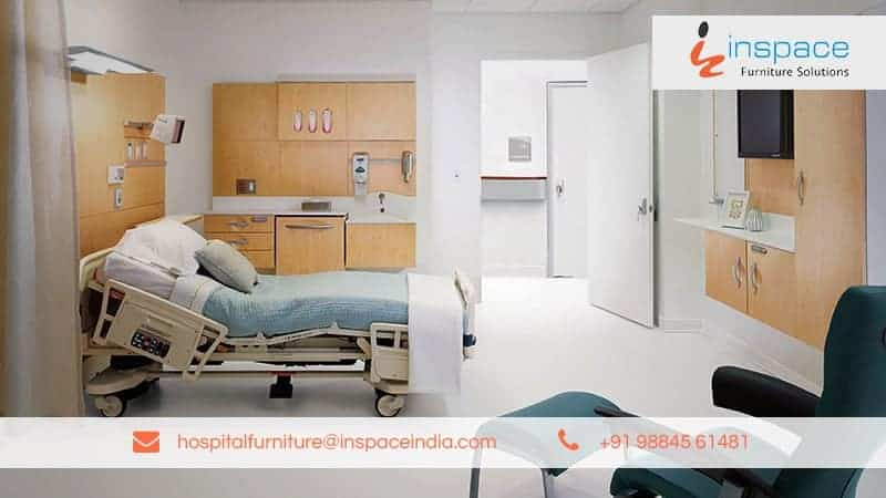 Image displaying patient room in the hospital furnished with the adjustable bed, chairs, and Cupboards. Inspace hospital furniture -leading hospital furniture manufacturing company Contact details are displayed