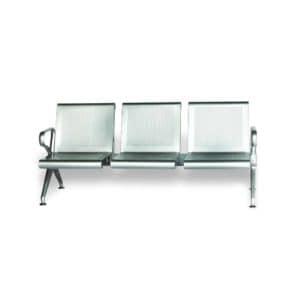 Hospital waiting room Three seater empty Stainless steel Chair Displayed in White background