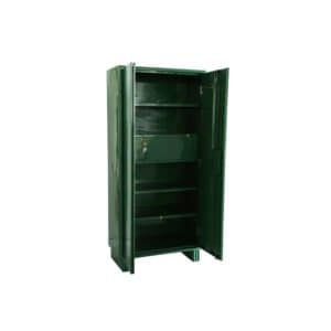 Image of an open green colour steel locker cupboard with five adjustable shelves and one locker in the middle for hospital use from inspace healthcare
