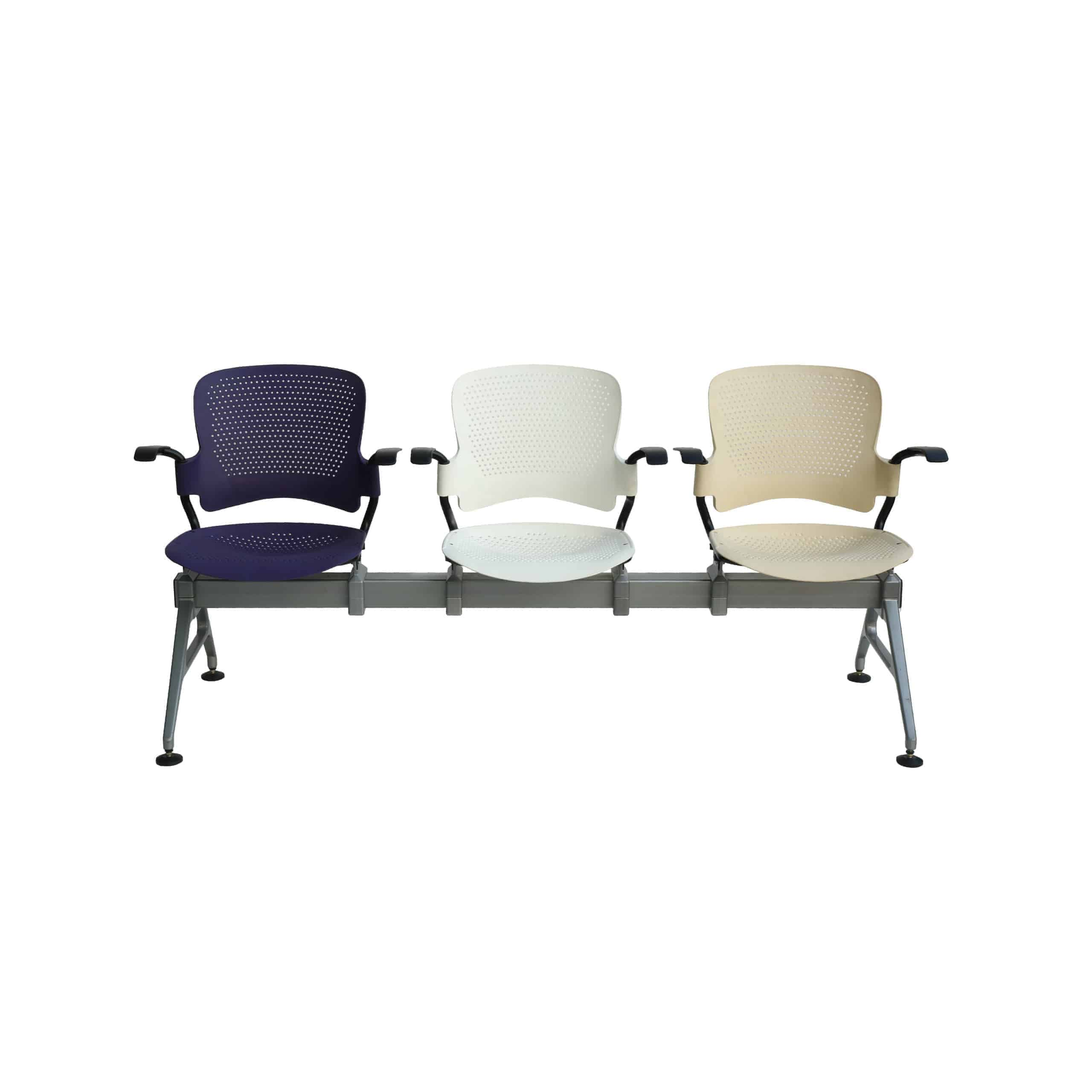 Polyurethene molded Three seater Empty medical waiting room chairs with purple,white and halfwhite colour displayed in white background