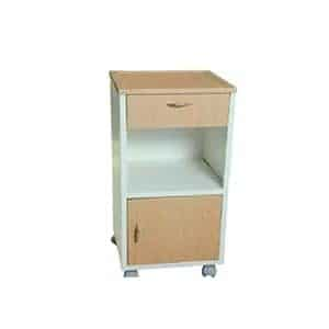 Three side covered hospital bedside cabinet with one drawer and two shelves with boottom one with door
