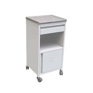 Movable Three side covered white colour patient bedside cabinet with one drawer and two shelves with boottom one with door
