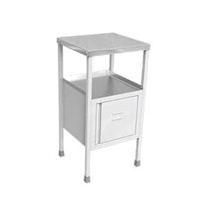 White colour hospital bedside table with two cabinets , one small door attached to last cabinet .SS Tray attached on the top