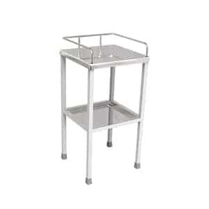 Three sides covered with SS Railings on the top on white colour patient bedside table