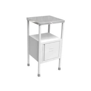Single side covered White colour hospital bedside table with SS Tray on the top