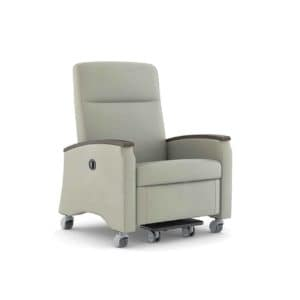 Single seat patient room Comfort recliner sofa with movable wheels attached to it