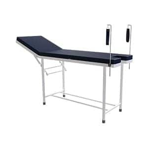 Simple examination couch with lithotomy rod and headrest adjustment