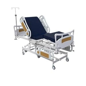 Blue hospital bed with lifting mechanism on stand, 3D render on white background