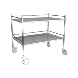 Stainless steel hospital instrument trolley with two partition with three side railings at the sides manufactured by inspace