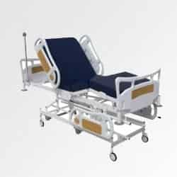 Blue colour hospital ICU bed with back rest elevated to partial sitting posture manufactured by Inspace Healthcare furniture