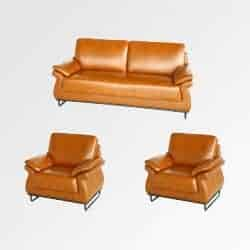 Light Brown Colour one two seater and two single seater Visitor Seating Sofa Displayed in White Background