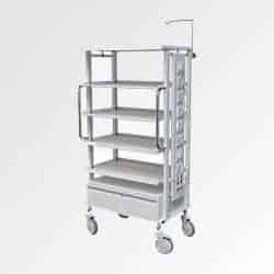 White Colour movable monitor Trolley for hospitals with Five Shelves manufactured by Inspace Healthcare Furniture