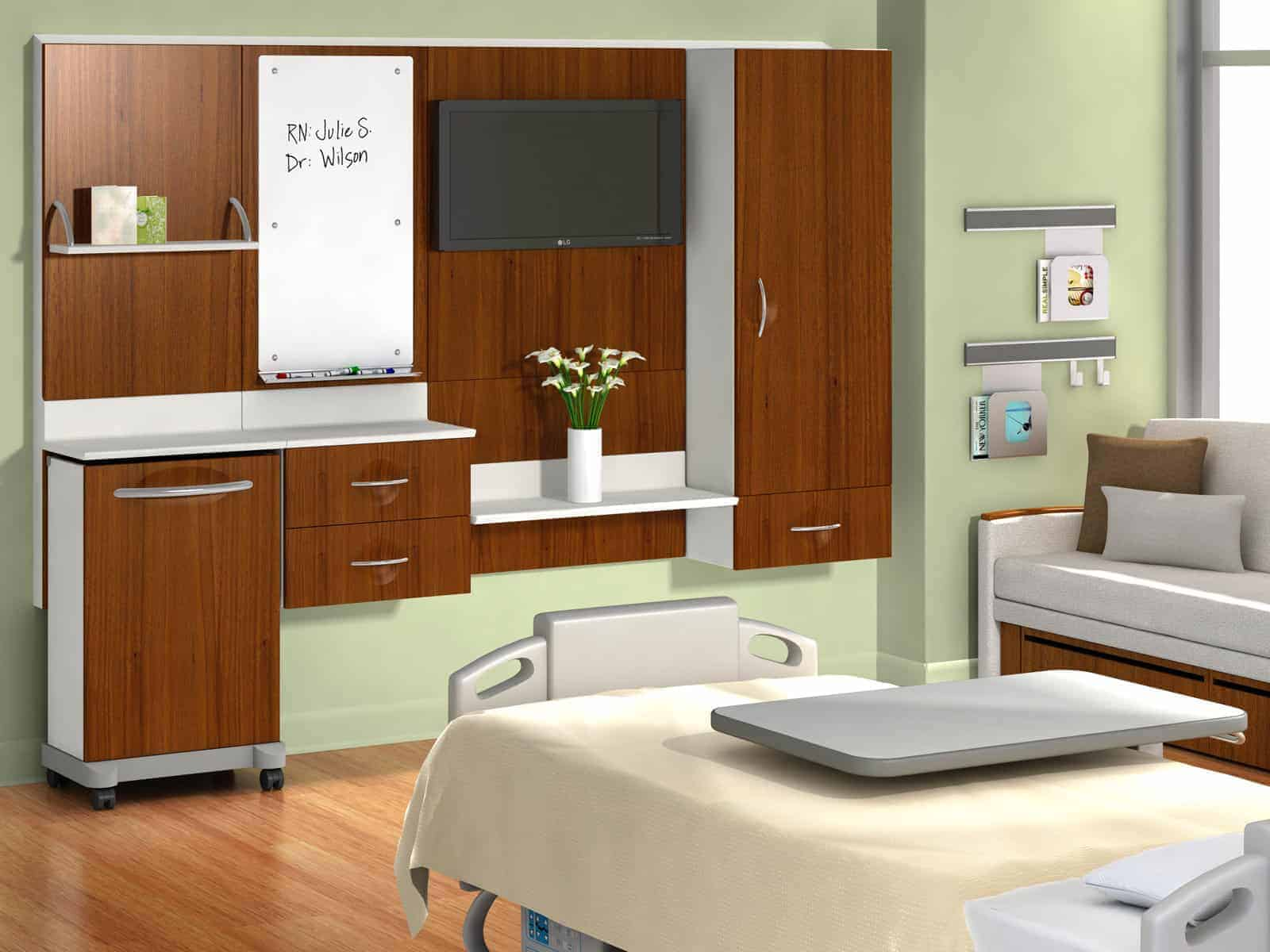 Interior Design of empty hospital room furnished with white colour bed , Monitor Trolley , Sofa Displayed