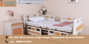 Neatly arranged hospital furniture in patient room